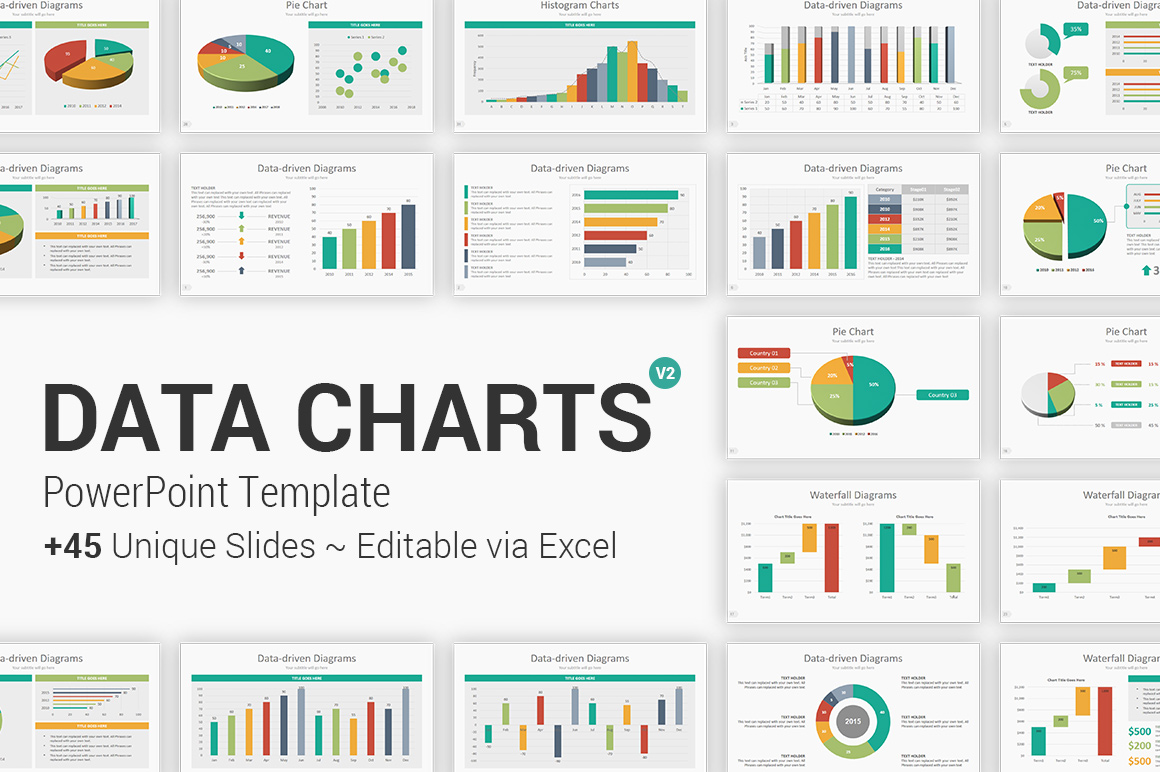 Fully Editable Data Charts PowerPoint Template